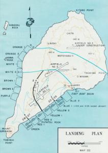 Map of Iwo Jima showing the invasion beaches