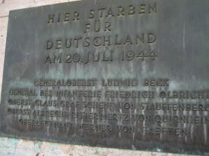 Memorial Plaque at the Bendlerblock